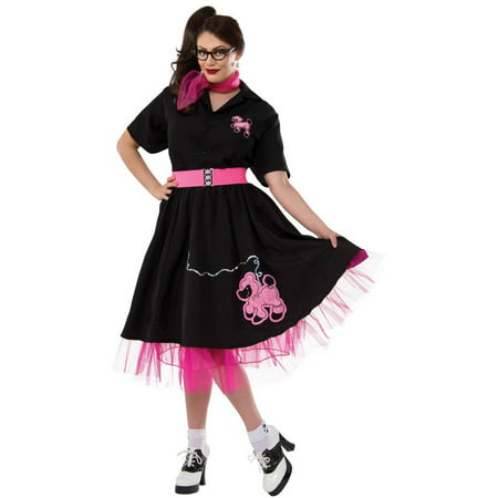 Black/Pink Complete Poodle Outfit Women's Plus Size Adult Halloween Costume - Plus Size Naughty Nurse Outfit