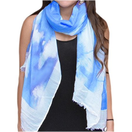 Peach Couture Modern Feather Floral Graphic Print Fringe Shawl Wrap Scarf Blue White - image 1 of 1