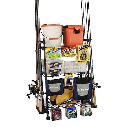 Organized Fishing Adjustable 3-Shelf Rolling Tackle Trolley for Fishing Tackle