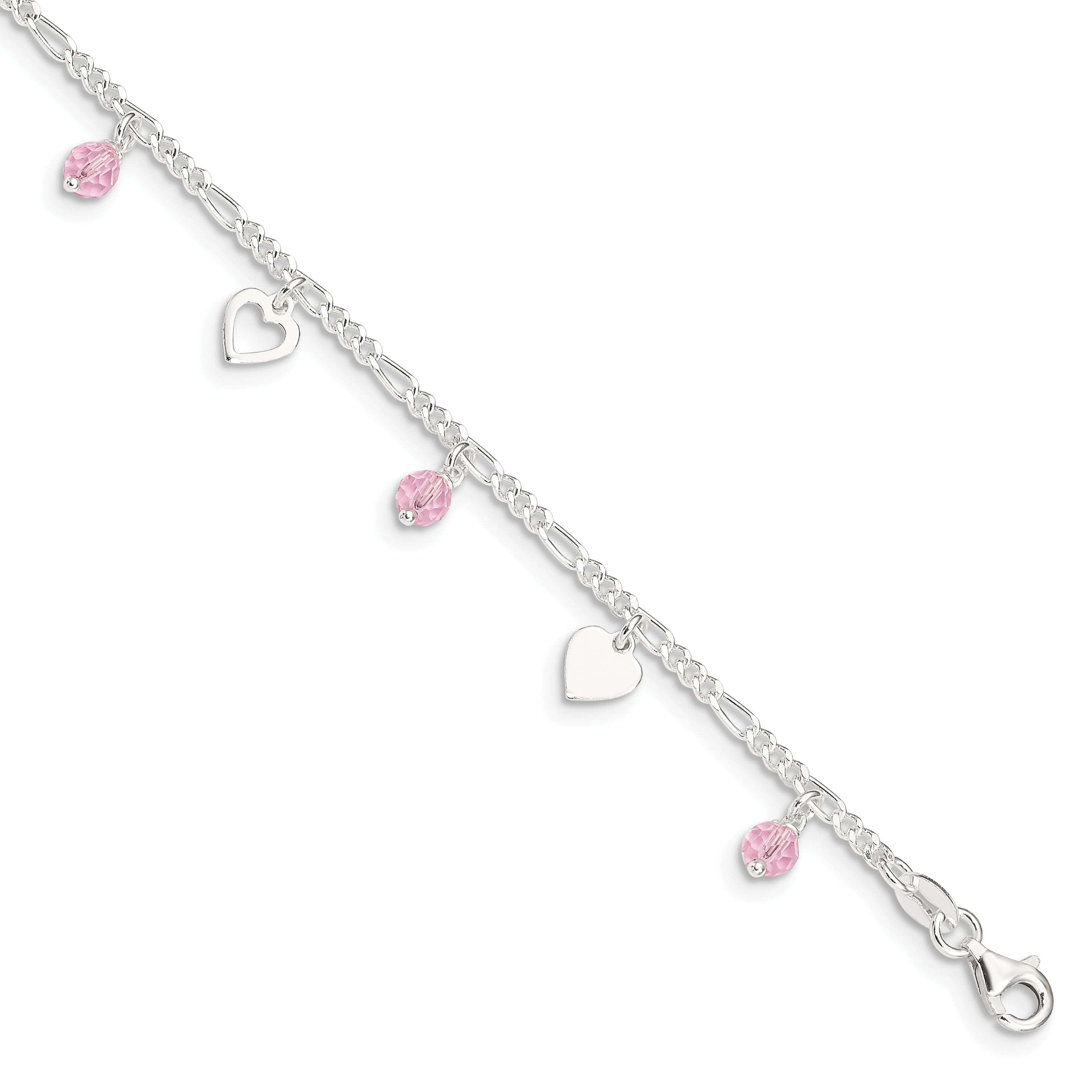 925 Sterling Silver Rose Tone Heart 9 Inch 1 Anklet Ankle Beach Chain Bracelet Fine Jewellery Gifts For Women For Her