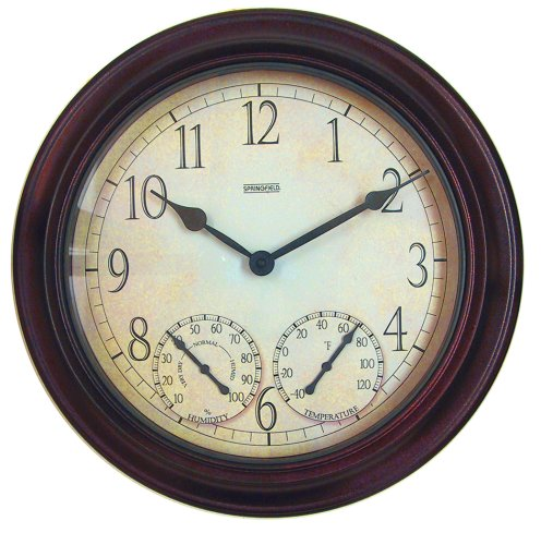 Springfield Outdoor Garden Clock with Thermometer and Hyg...