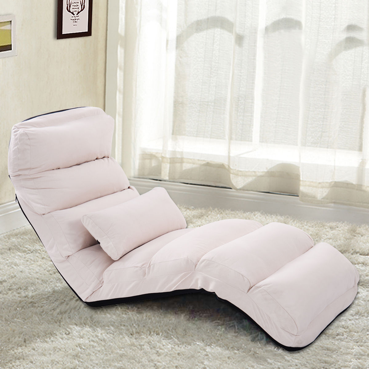 Costway Beige Folding Lazy Sofa Chair Stylish Sofa Couch Beds Lounge Chair  W/Pillow Image