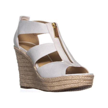 Womens MICHAEL Michael Kors Damita Wedge Espadrille Sandals, Optic White (Michael Kors White Sandals)