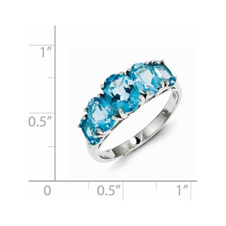 Sterling Silver Rhodium Light Swiss Blue Topaz 5 Stone Ring - image 1 de 2