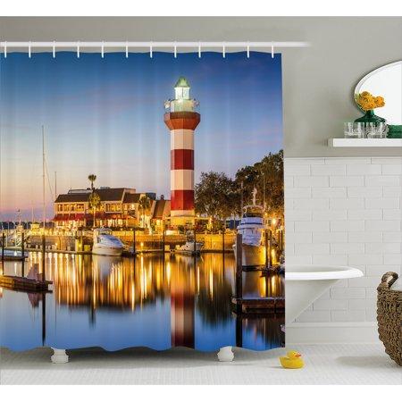 United States Shower Curtain, Hilton Head South Carolina Lighthouse Twilight Water Reflection Boats Idyllic, Fabric Bathroom Set with Hooks, Multicolor, by (Reflector Shower)