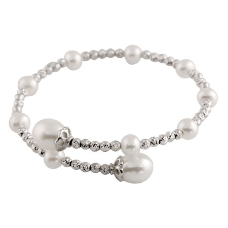 Rows Multi Color Cultured Pearl (Single Row Handpicked AAA+ 6.5-8.5mm Button Freshwater Cultured Pearl Bangle and Sterling Silver Beads 7