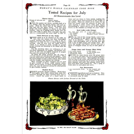 Womans World Calendar Cook Book 1922 Cheese Straws with Lettuce Poster (Cheese Straws)
