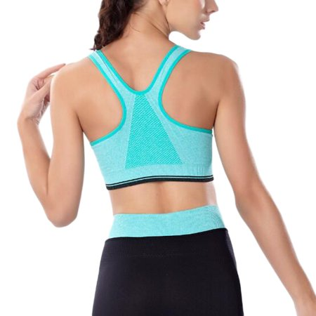 Comfortable Full-Cup Sports Bra with Front Zipper Shockproof Vest without Steel Ring for Yoga Gym Running Fitness Gift Size XL - image 1 of 6