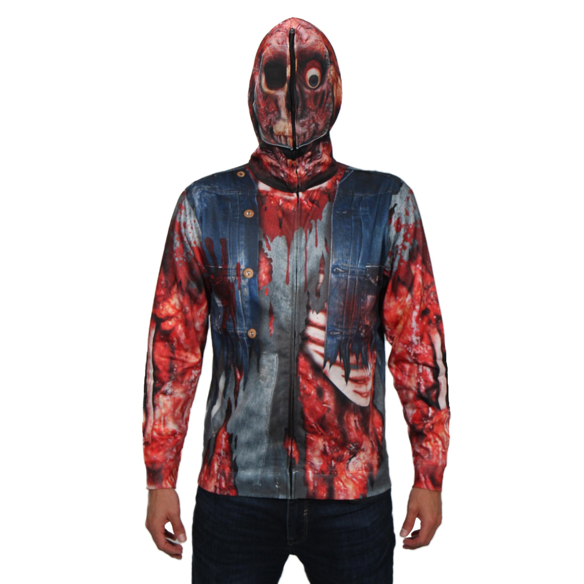 Zombie Mask Hoodie Men's Long Sleeve Full Mask Zip up Hoodie