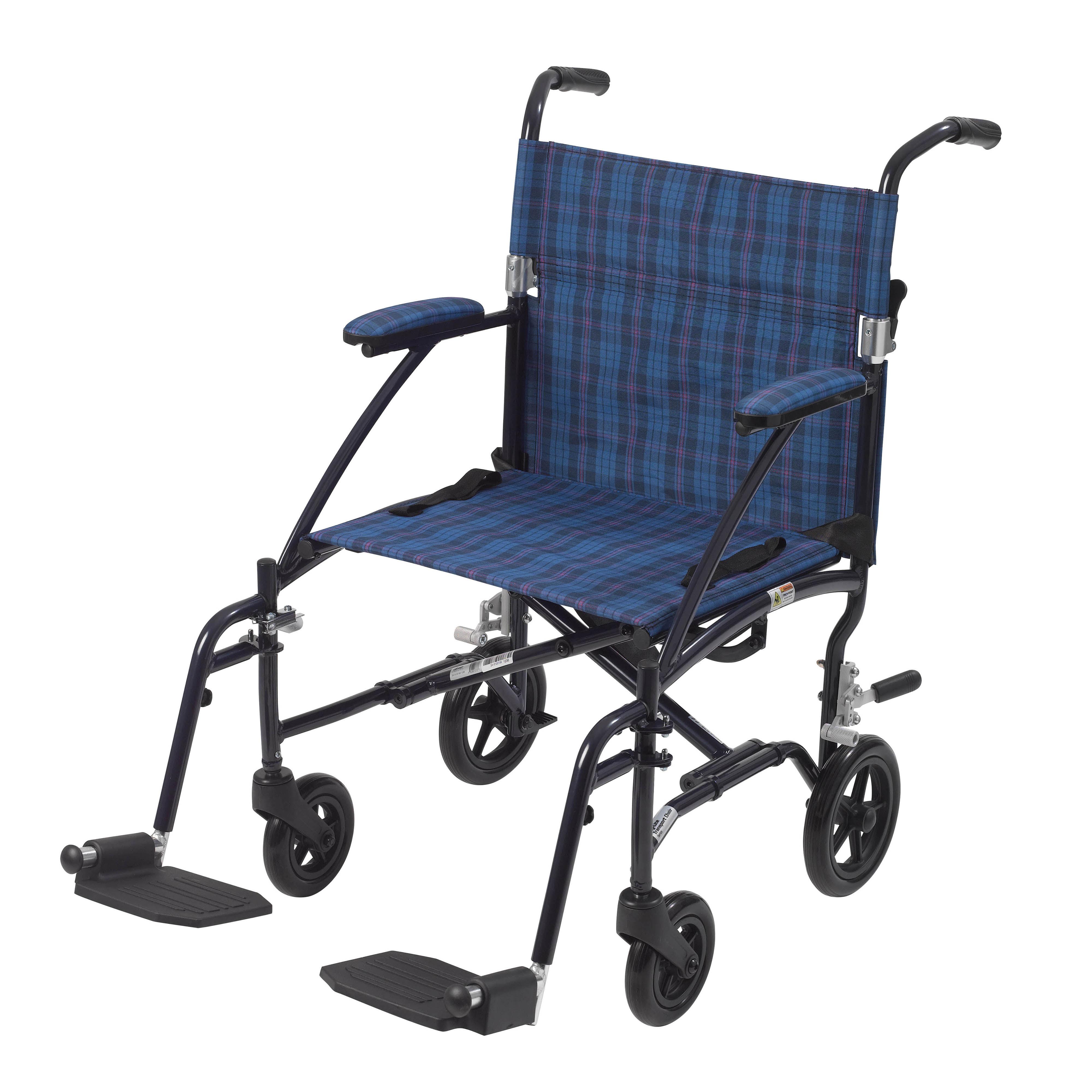 Drive Medical Fly Lite Ultra Lightweight Transport Wheelchair, Blue