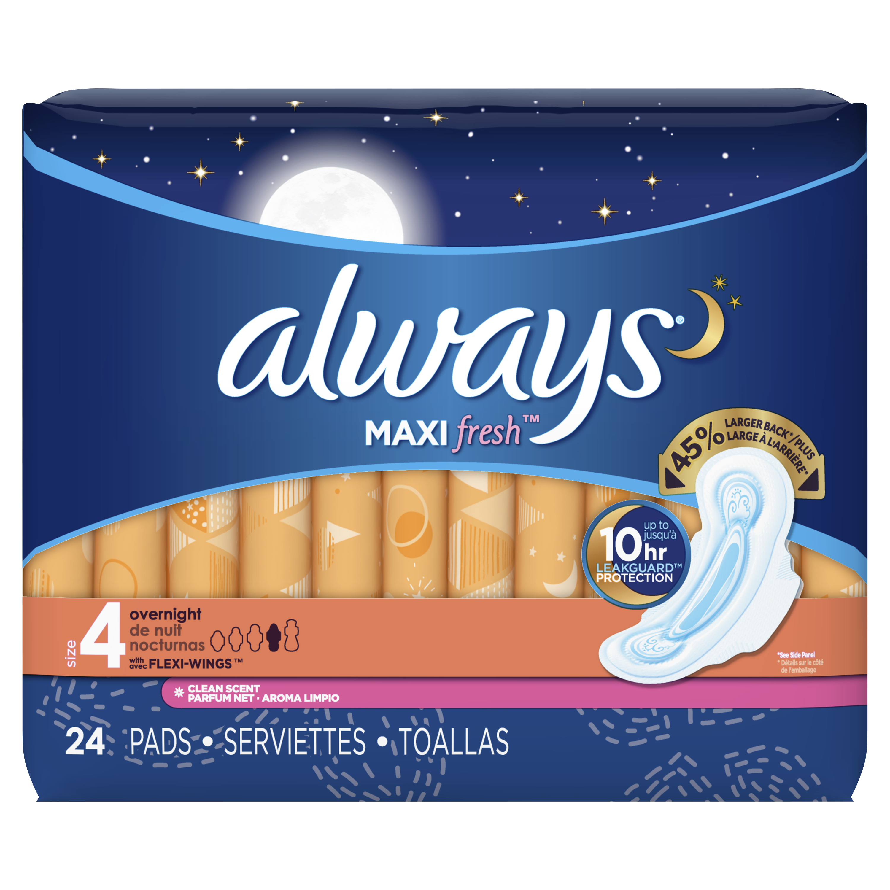 Always Maxi, Size 4, Overnight Pads With Wings, Scented, 24 Count