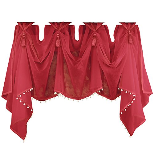 Collections Etc Tassel Sheer Scoop Valance Curtains by Bigbolo