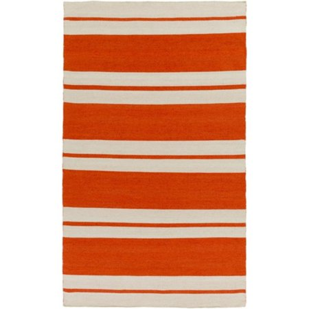 4 X 6 Straight Path Carrot Orange And Beige Hand Woven Area Throw Rug