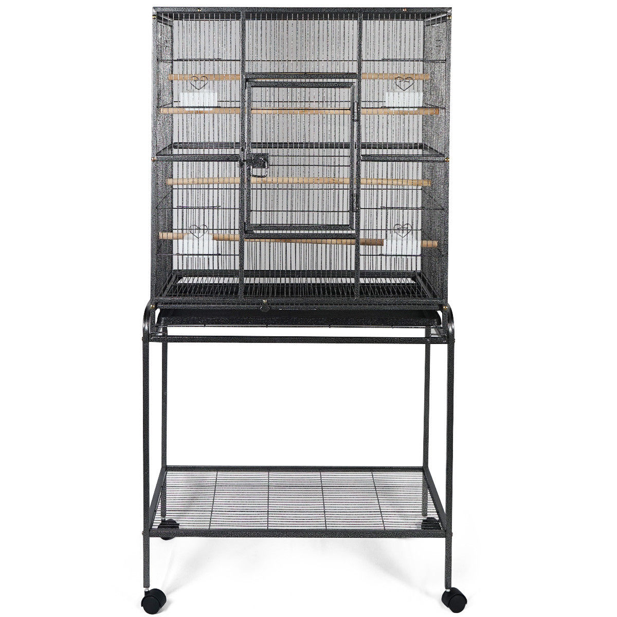 Gymax Bird Parrot Cage Heavy Duty Black
