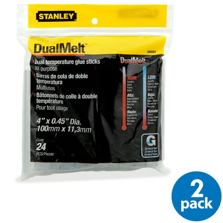 Stanley Bostitch Dual Temperature Glue Sticks, 24 per pack, Pack of 2