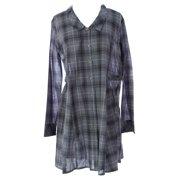 Lunn Women's Diva Plaid Button Down Shirt Dress 3 (L) Reglisse