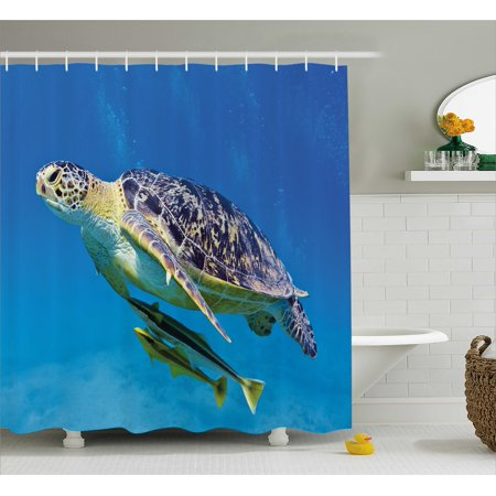 Turtle Shower Curtain, Cute Angry Looking Sea Turtle Swimming with Remora Fishes Fauna Under the Sea, Fabric Bathroom Set with Hooks, 69W X 70L Inches, Blue Yellow Brown, by Ambesonne for $<!---->