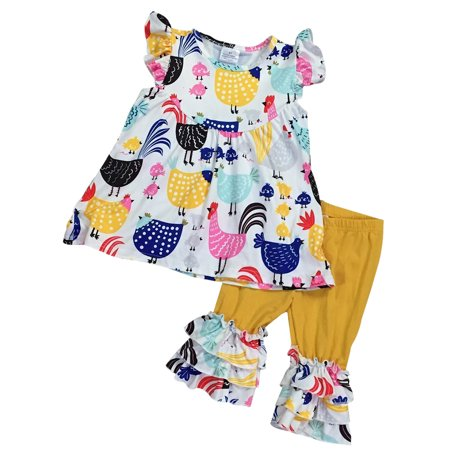 Toddler Girls 2 Pieces Pant Set Chicken Chick Farm Ruffles Capris Kids Outfit White 2T XS (P501560P)