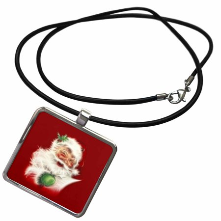 3dRose A trendy vintage fractal Santa Claus with a wish list - Necklace with Pendant (ncl_201087_1) (Fractal Jewelry)