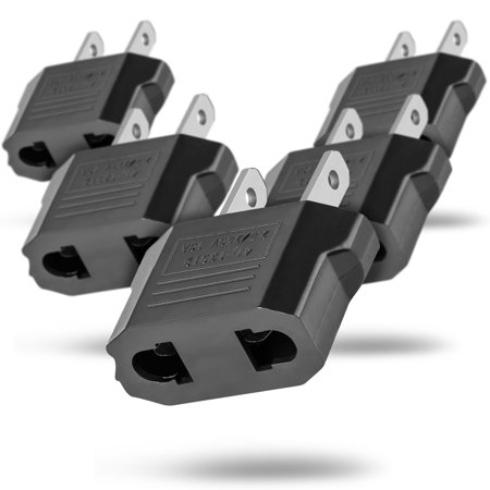European Adapter 5 Pack, Fosmon Type C EU to USA & Canada Travel Adapter Plug, 2 Prong Universal Power Converter (Black)