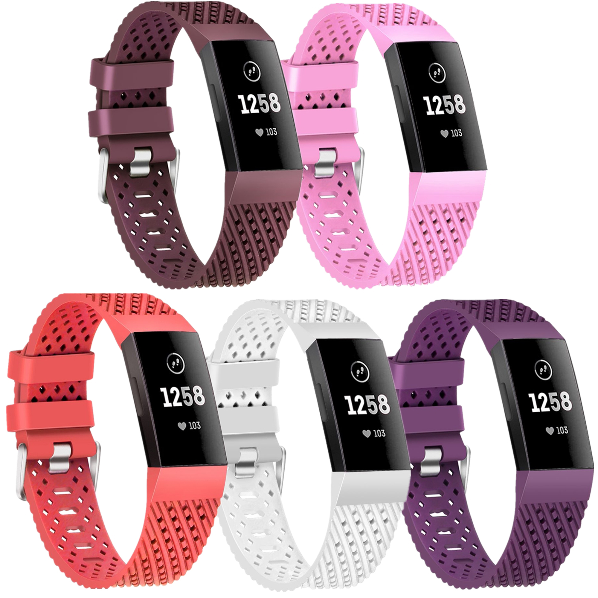 Moretek 5PCS Charge 3 Replacement Wrist Band Multi-Color Women Men Bands Accessories for Fitbit Charge 3 Small