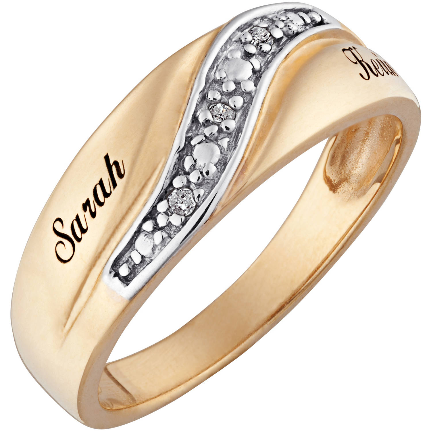 personalized men s diamond accent name wedding band 18kt gold over