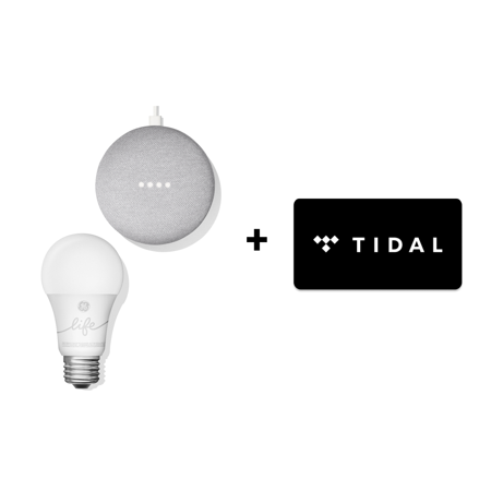 Google Smart Light Starter Kit - Google Home Mini and GE C-Life Smart Light Bulb + TIDAL Premium 4-Month FREE Trial