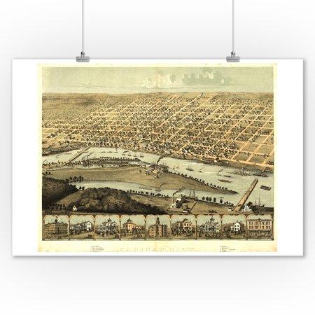 Saginaw, Michigan - Panoramic Map (9x12 Art Print, Wall Decor Travel Poster) ()