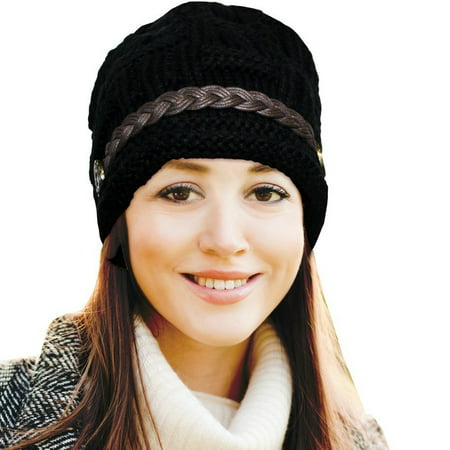 7a0bb6501a8 Fashionable   Stylish Oversized Slouch Beanie Hats for Women - Black -  Walmart.com
