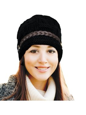 Product Image Top-Premium Women s Knitted Beanie Head Cap Leather Headwear  Hats (Black) e07dff1d7a