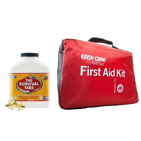 Outdoor Emergency Adventure First Aid Kit - Easy Care First Aid Kits All Purposes + Survival tabs 15 days Emergency food (180 (Parent Survival Kit For First Day Of School)