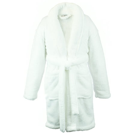 Kids Microfiber Fleece Shawl Robe - Boys - White - Small - Orange Robe