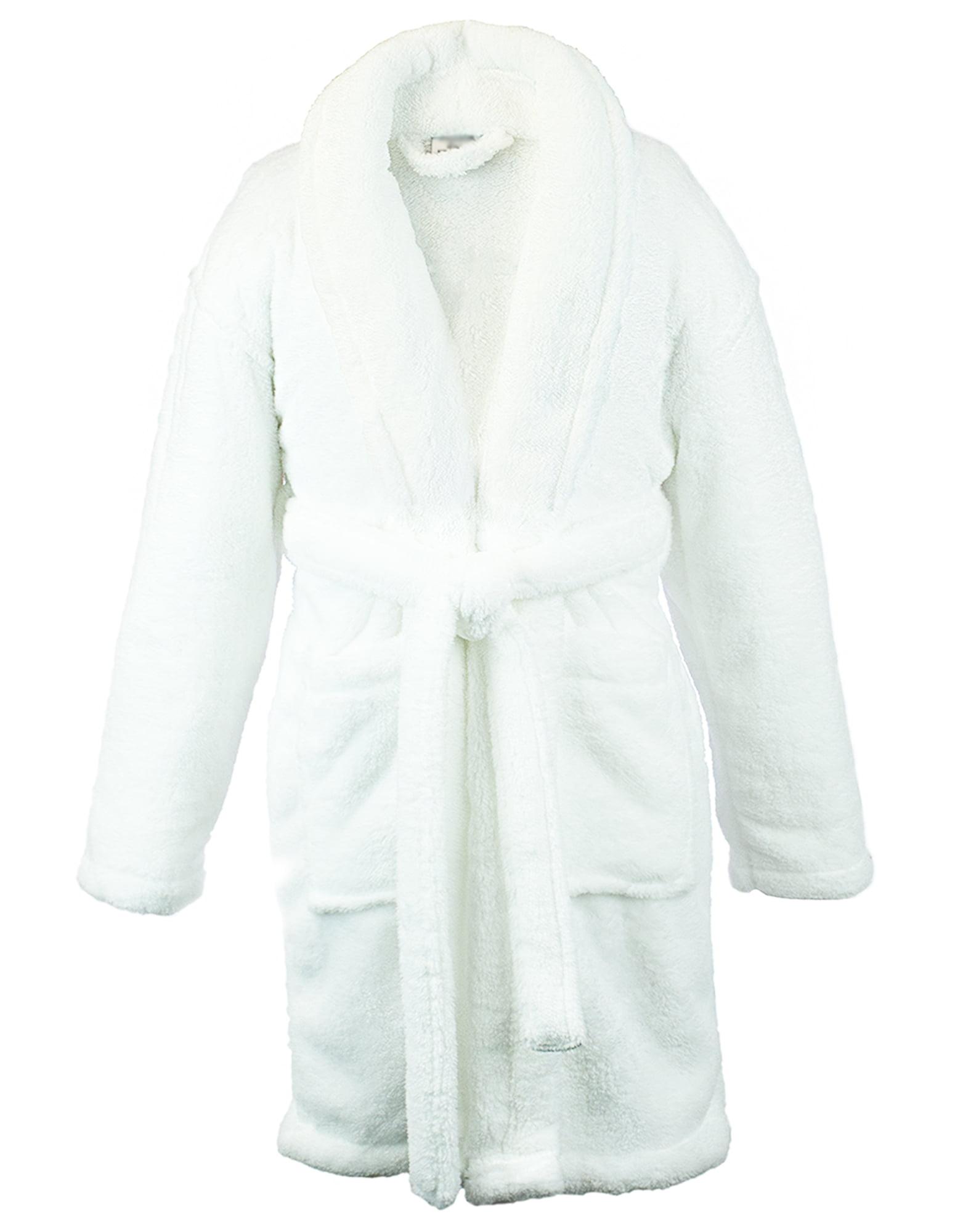 Kids Microfiber Fleece Shawl Robe - Boys - White - Small
