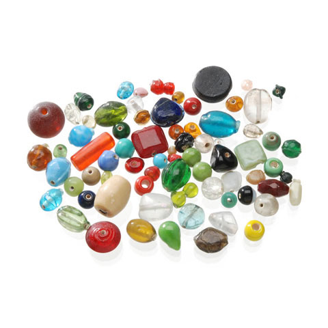 Glass Beads: Assorted Colors and Sizes