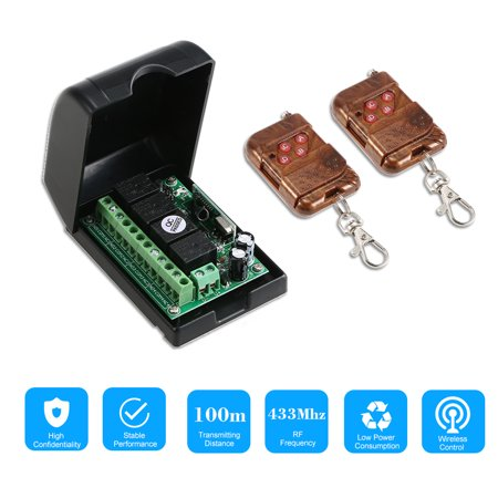 Smart Home 433Mhz RF DC 12V 4CH Learning Code Wireless Remote Control Switch Relay Receiver Transmitter Universal Remote Switch System and Long Range 100M RF Transmitter Remote Controls 1527 ()