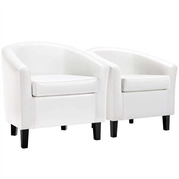 2 x Faux Leather Club Chair Accent Chairs for Living Reading Room Bedroom White