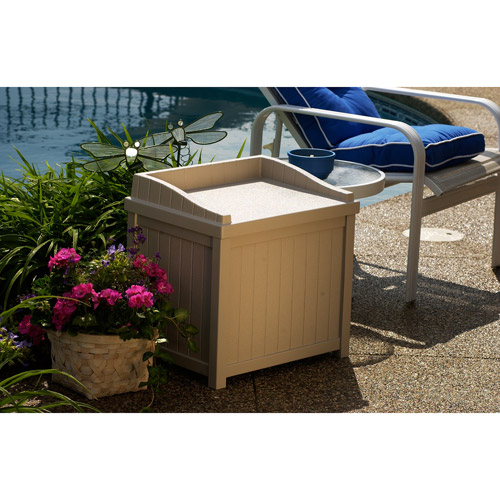 Suncast 22 Gallon Light Taupe Resin Small Storage Seat Deck Box SS1000