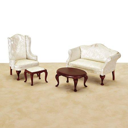 White Queen Anne Living Room Dollhouse Miniature Set