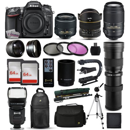 "Nikon D7100 DSLR Digital Camera + 18-55mm VR II + 6.5mm Fisheye + 55-300mm VR + 420-1600mm Lens + Filters + 128GB Memory + Action Stabilizer + i-TTL Autofocus Flash + Backpack + Case + 70"" Tripod"