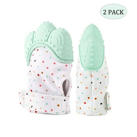 【Holiday Gifts】2 Pack Baby Teething Mittens for Infants - Toddlers Crinkle Toys Teether Mitten Gum Pain Relief, Mint