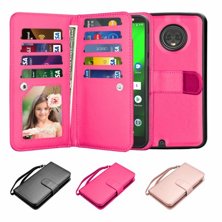 best service e5bc3 727ee Motorola Moto G6 Case, Moto G6 Wallet Case, Moto G6 Pu Leather Cover, Njjex  Pu Leather Magnet Stand Folio Flip 9 Card Slots&Wrist Strap Wallet Cases ...