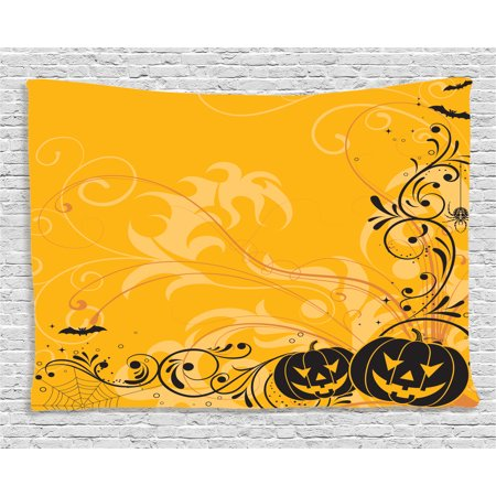 Halloween Decorations Tapestry, Carved Pumpkins with Floral Patterns Bats and Webs Horror Artwork, Wall Hanging for Bedroom Living Room Dorm Decor, 80W X 60L Inches, Orange Black, by - Carving Patterns Halloween