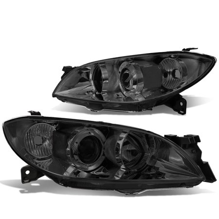 2009 Bmw Sedan (For 2004 to 2009 Mazda 3 4 -Door Sedan Pair Projector Headlight Smoked Housing Clear Side Headlamps 05 06 07 08 Left+Right)
