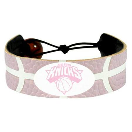 - New York NY Knicks Logo NBA Basketball Leather Pink Bracelet