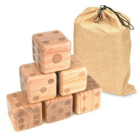 Trademark Innovations Giant Wood Yard Dice with Carry Bag, 3.5