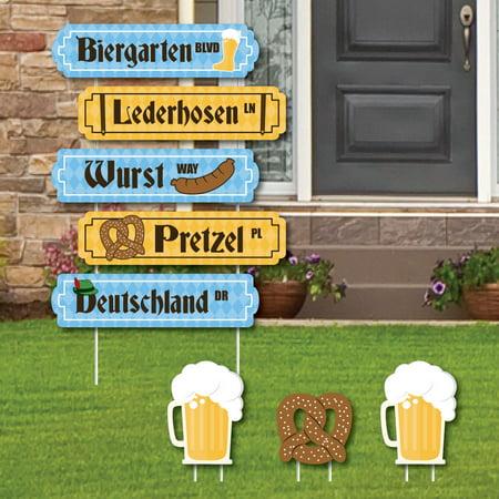 Oktoberfest - Street Sign Cutouts - German Beer Festival Yard Signs & Decorations - Set of 8