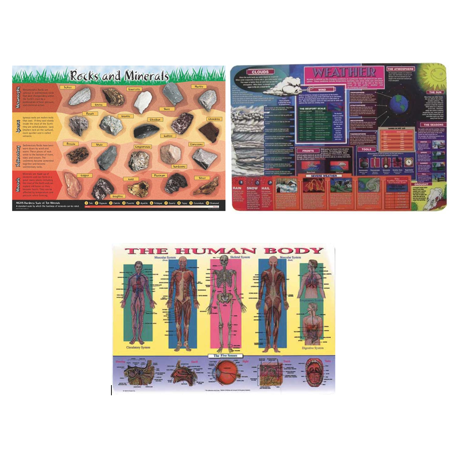 Wipe-off Placemats:  Weather, Rocks, Human Body- Set of 3 Laminated Educational Placemats for $<!---->