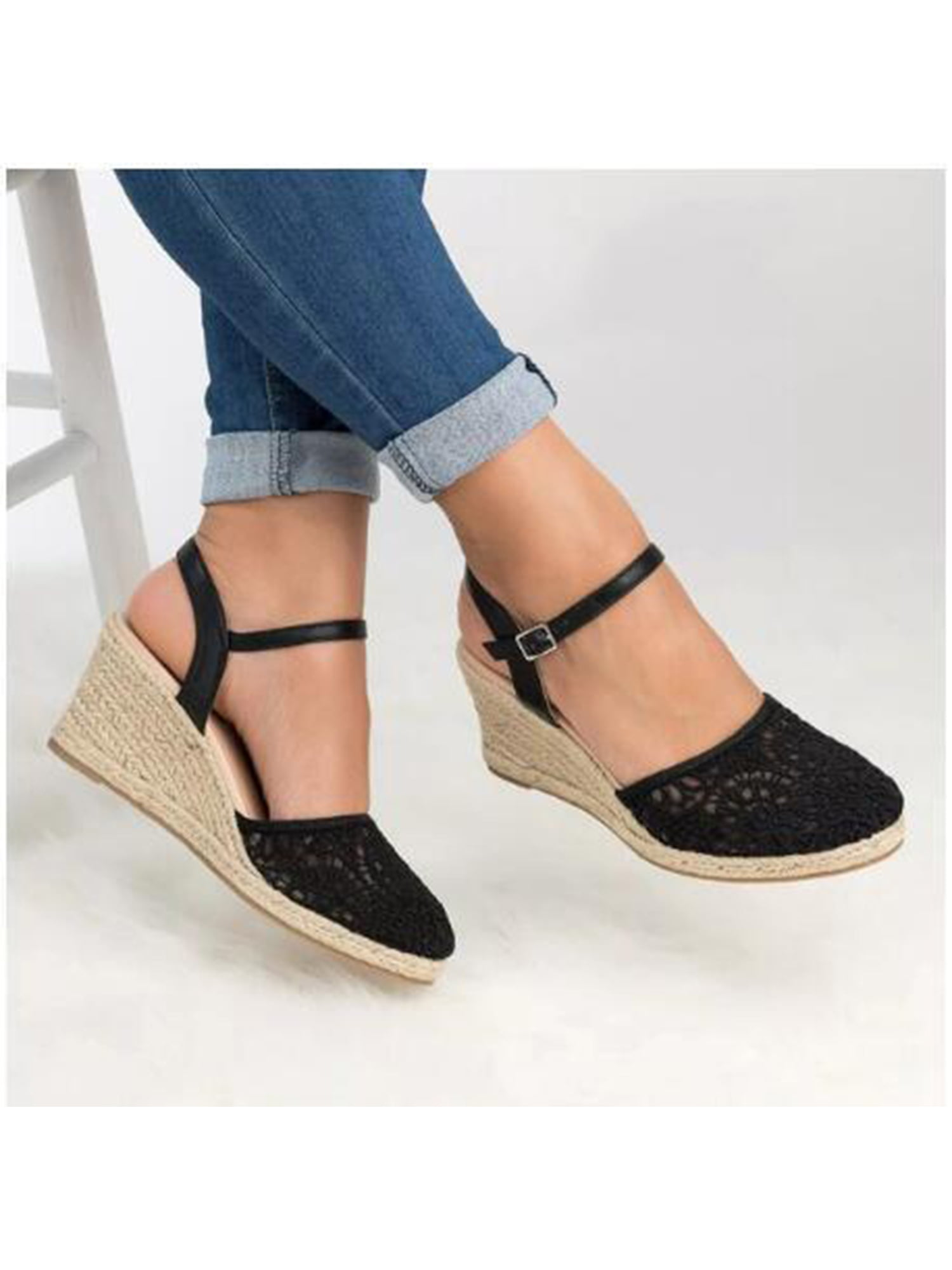 Details about  /Women Solid Colour Buckle Starp Increased Non Slip Casual Wedges Sandals
