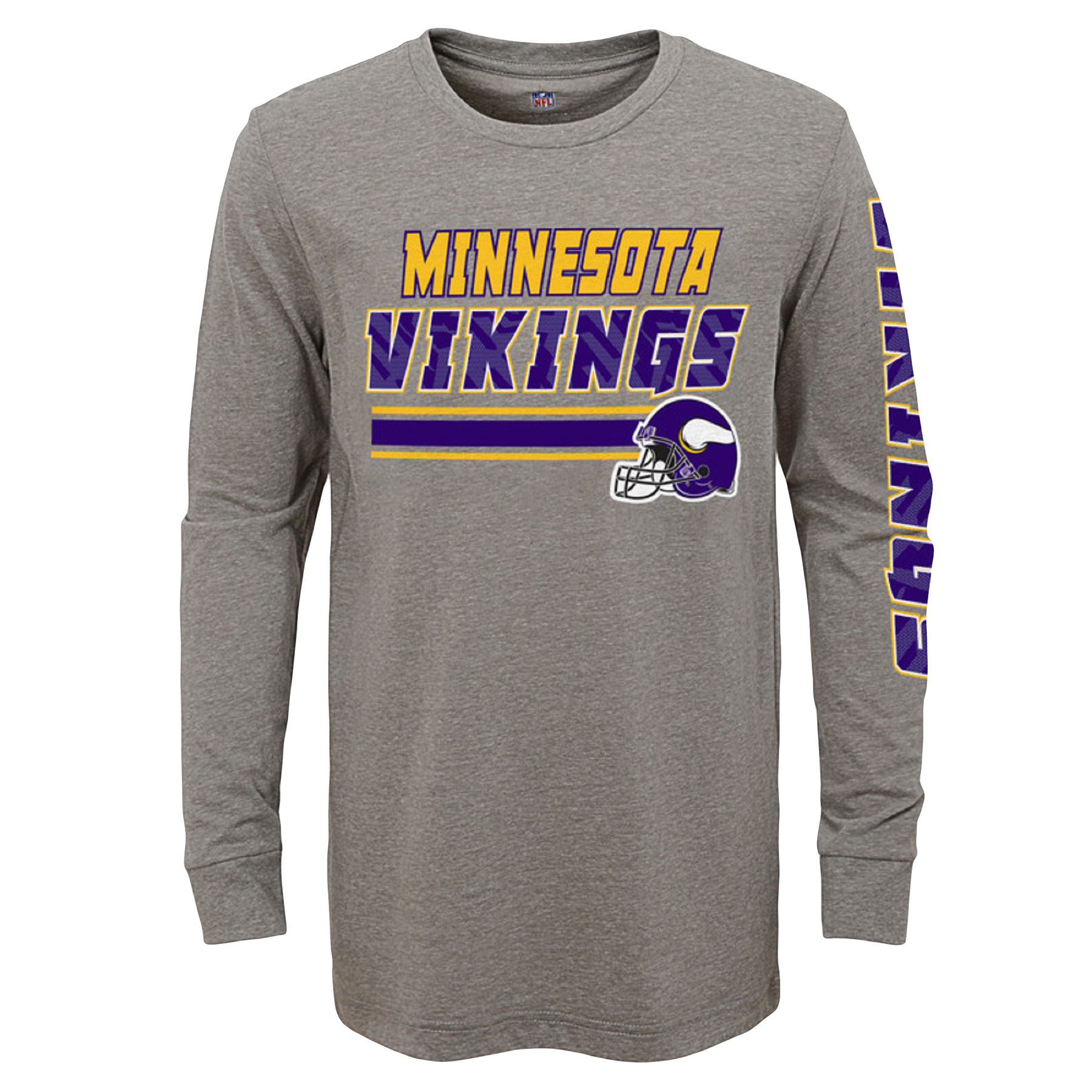 Youth Gray Minnesota Vikings Tri-Blend Long Sleeve T-Shirt