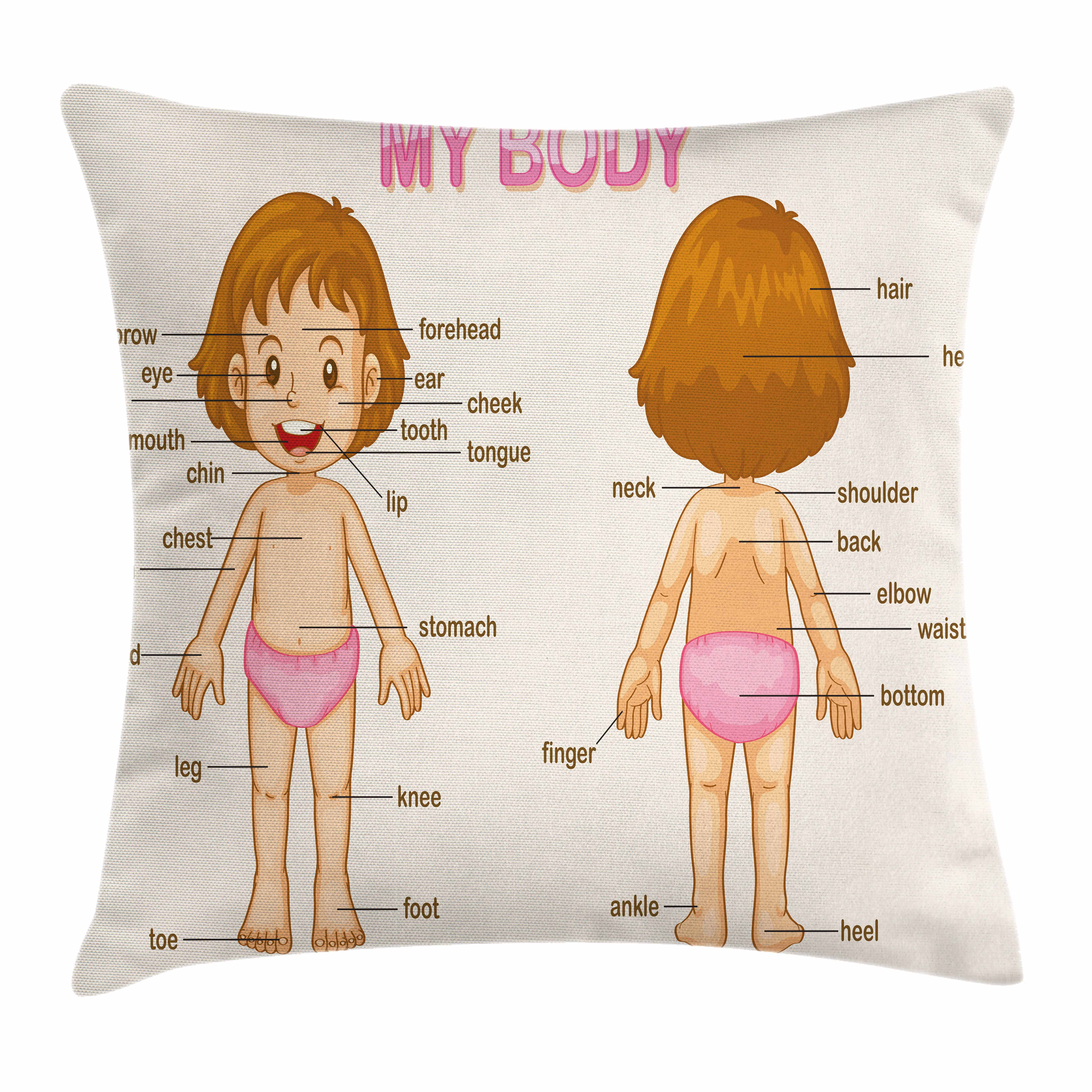 Educational Throw Pillow Cushion Cover, Cute Little Cartoon Girl Children Body Parts School Science Class, Decorative Square Accent Pillow Case, 20 X 20 Inches, Pale Pink Brown Cream, by Ambesonne